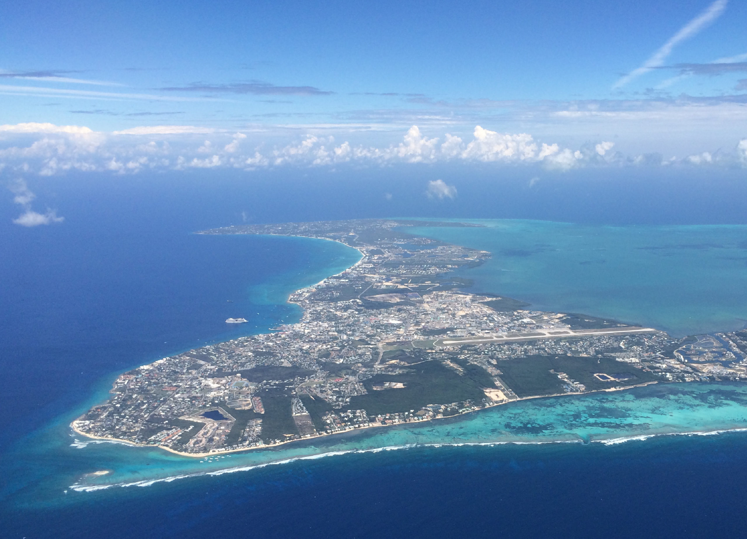 Aerial view of the Cayman Islands.