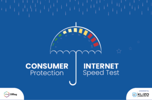 "Graphic of an umbrella that reads ""consumer protection"" and ""internet speed test"""