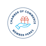 Chamber of Commerce Member Perks logo with a hand holding a present.