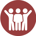 Icon of three people working as a team.